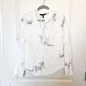 WHBM • Ercu With Feather Neck Tie Button Blouse